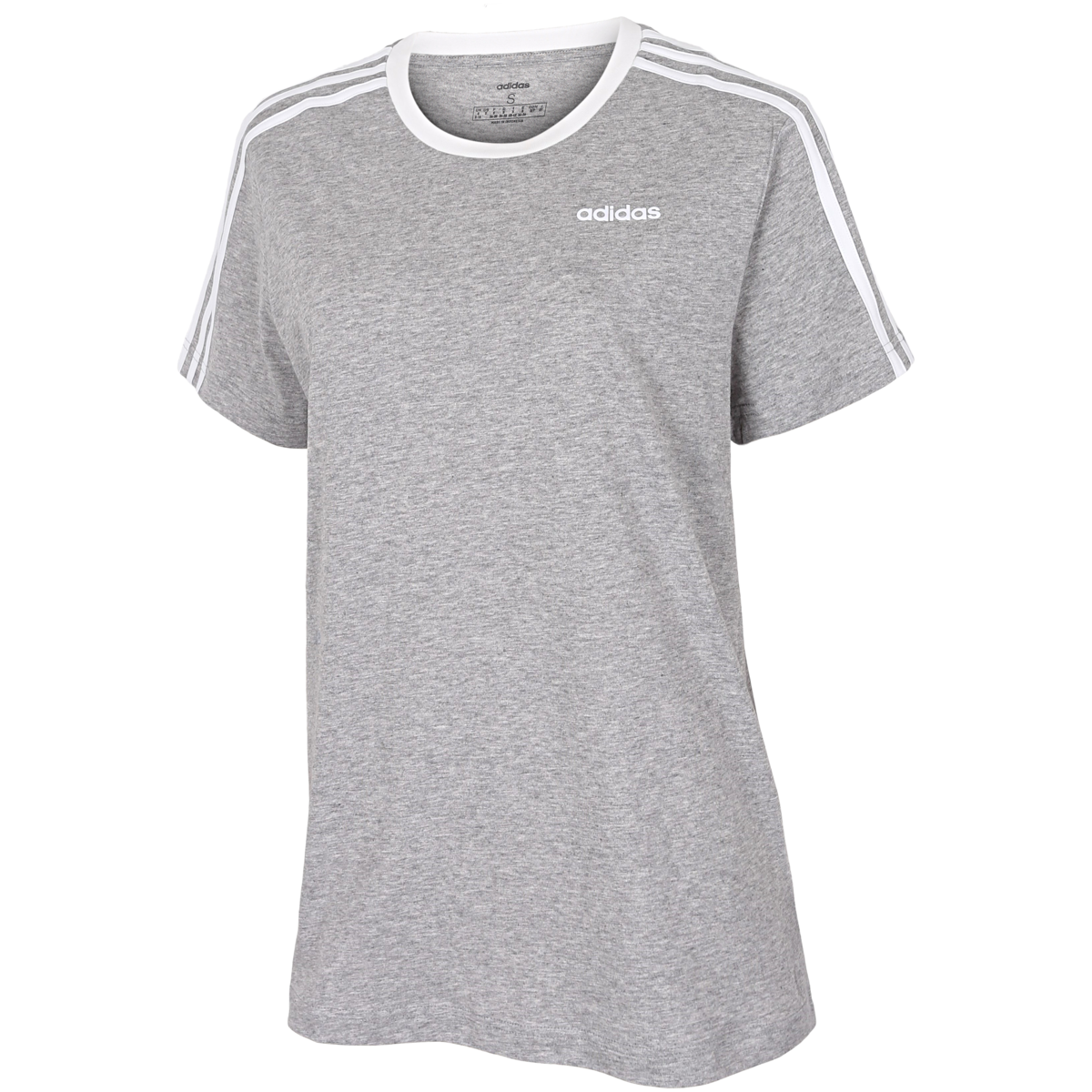 adidas - Essentials 3-Stripe Boyfriend T-Shirt - Grå
