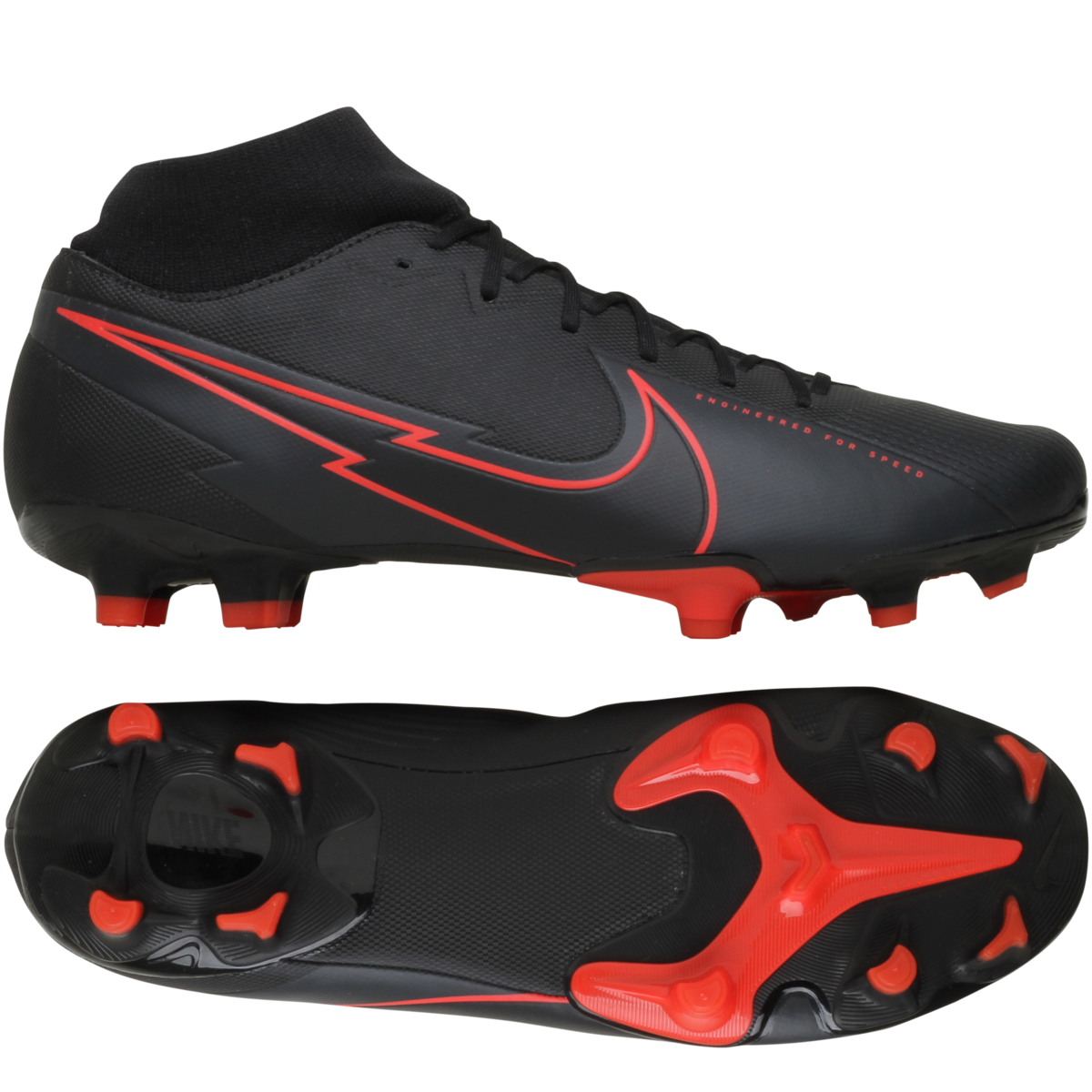 Nike - Mercurial Superfly 7 Academy FG/MG Black X Chile Red - Sort